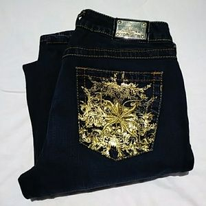 Juniors Baby Phat Boot Cut Gold Pockets Size 9